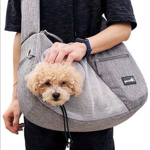 Sturdy dog pet cat sling carrying bag travel